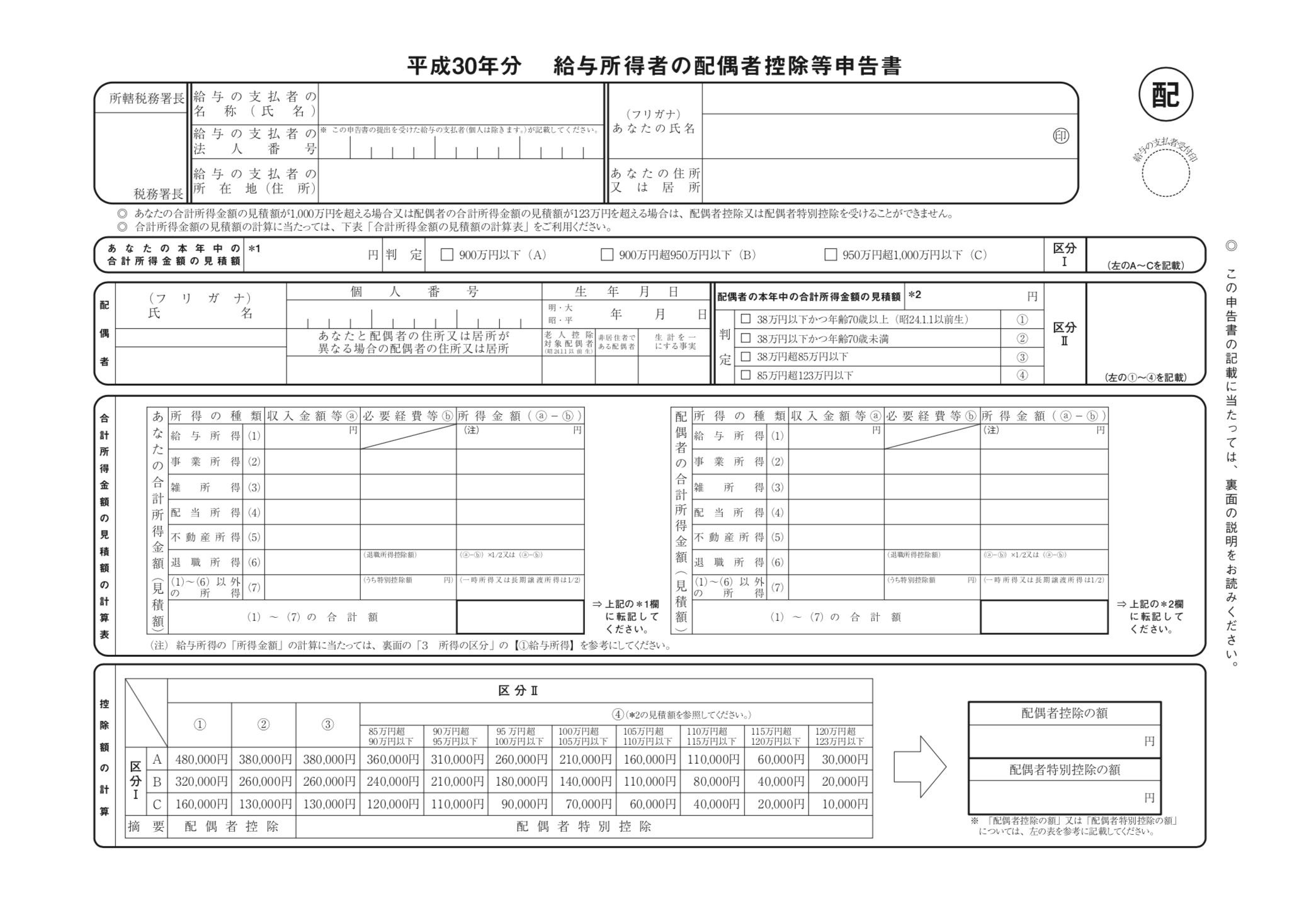 配偶者控除等申告書の書き方(H30年末調整)