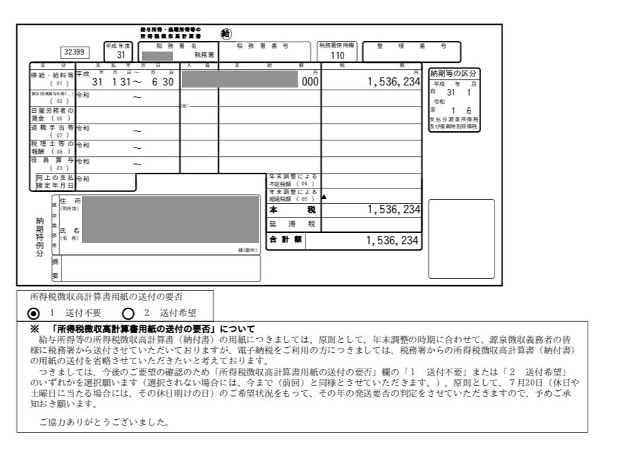 源泉所得税納付書の写しは?(e-taxで電子納付の場合)