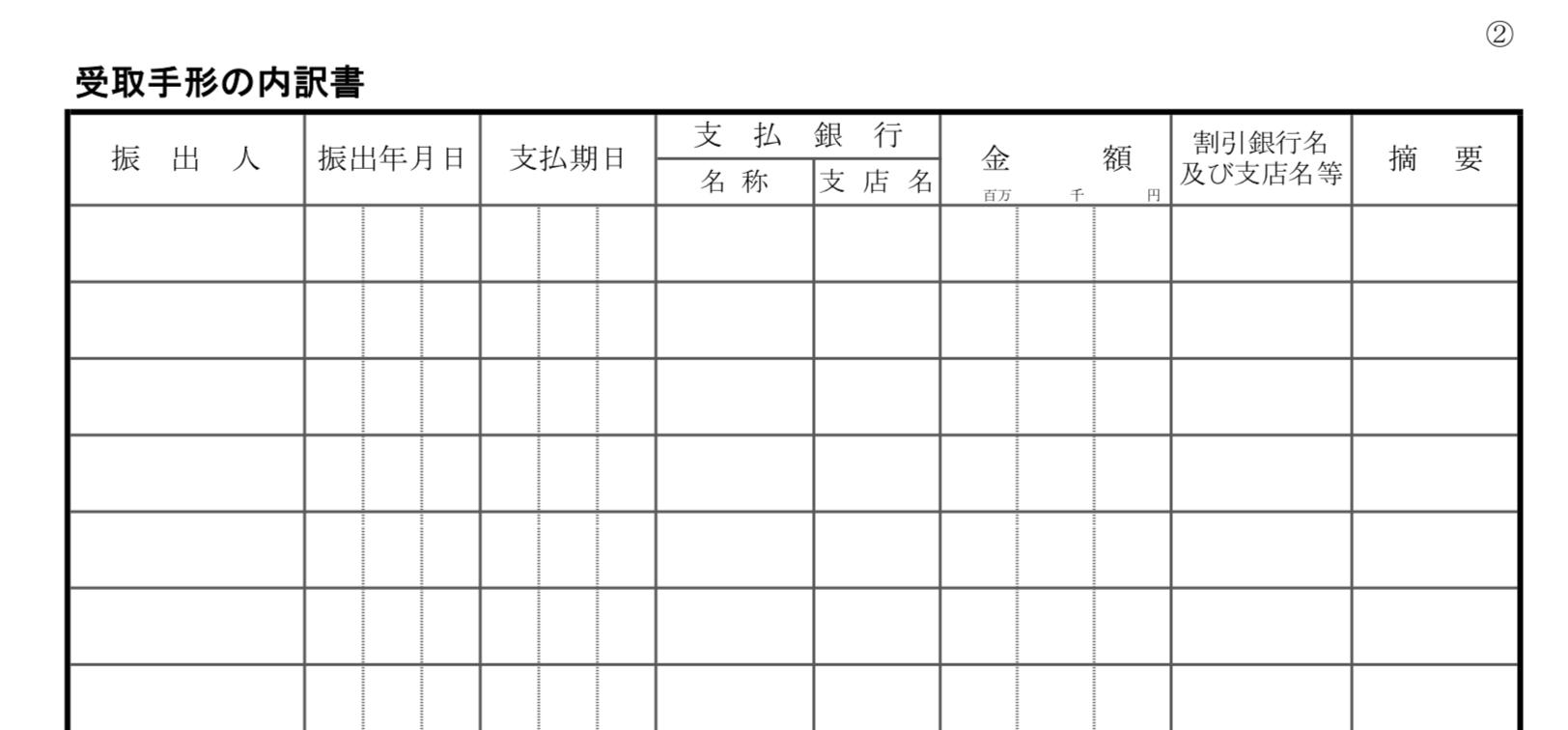 勘定科目内訳明細書の書き方(受取手形、支払手形)